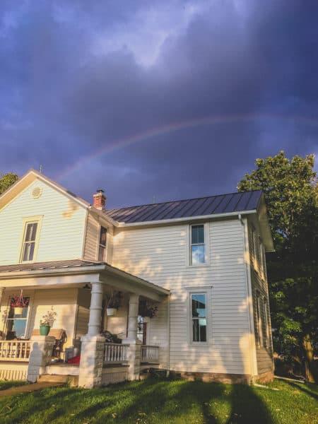 farmhouse in Ohio with rainbow