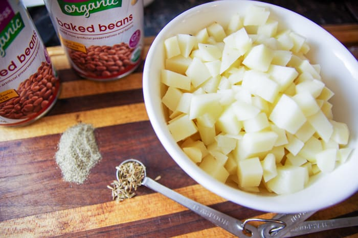 chopped potatoes for chowder recipe
