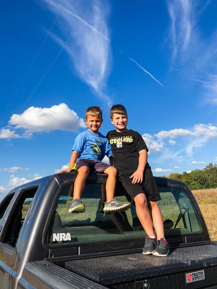 boys on truck