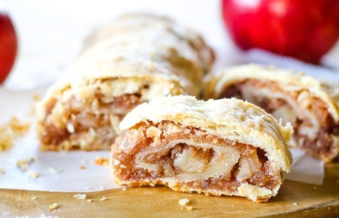 baked homemade apple strudel