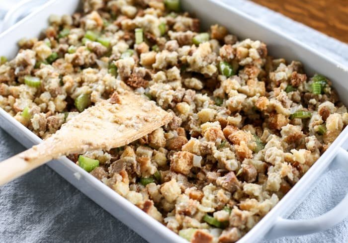 homemade stuffing ready for the oven