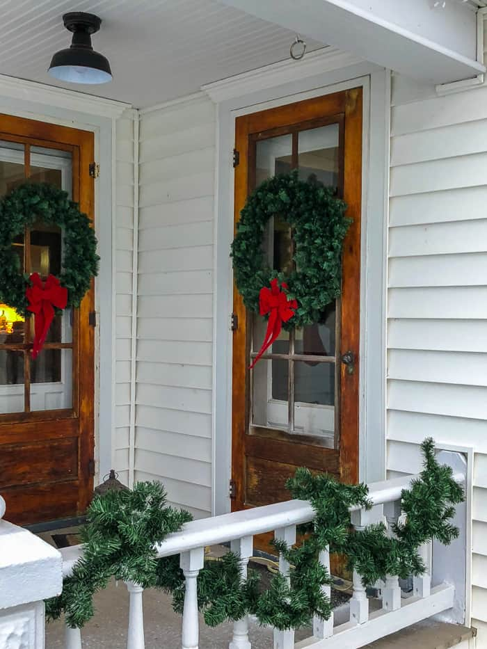 farmhouse with wreaths