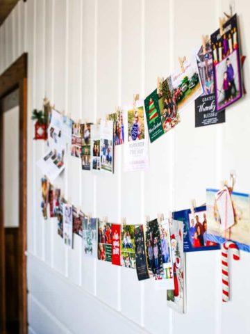 christmas card holder display idea in farmhouse