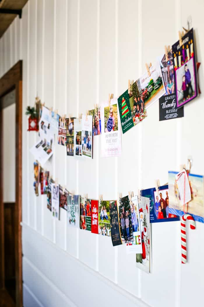 christmas card holder display idea in farmhouse