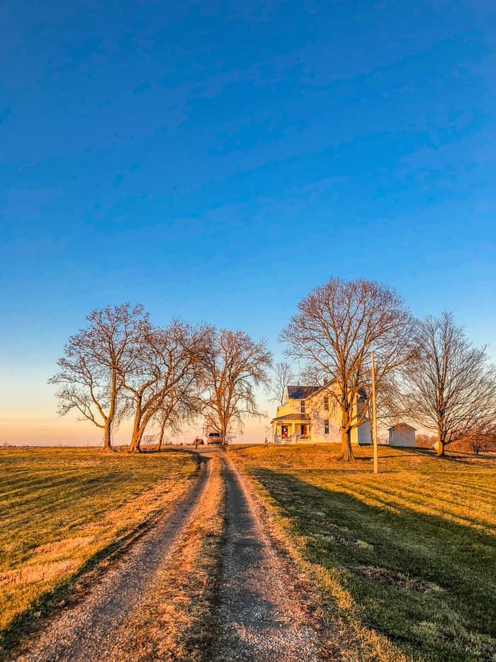 farmhouse in Ohio on hill
