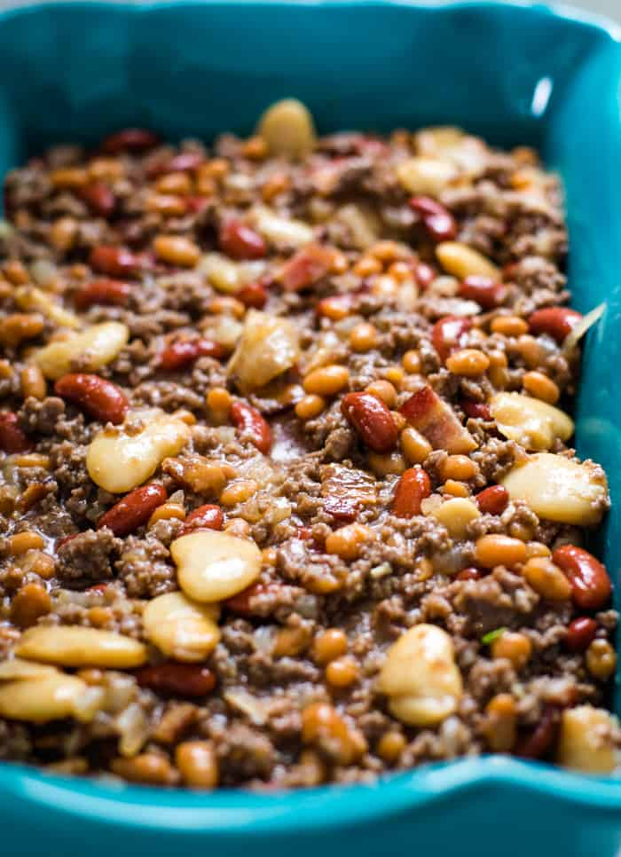 calico beans ingredients in baking dish