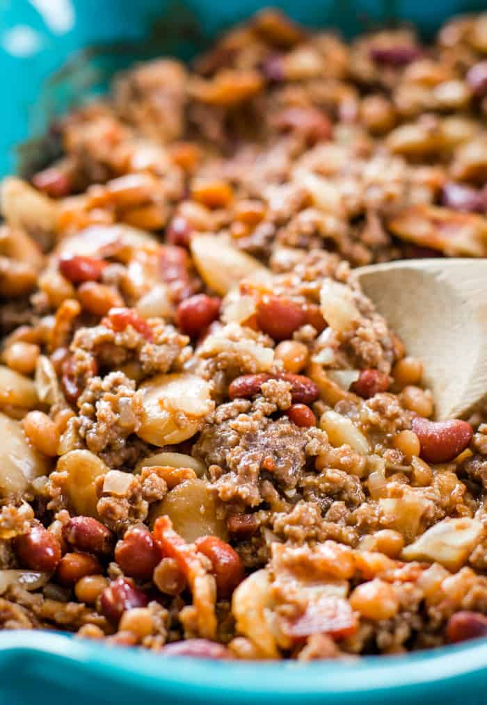 calico baked beans with hamburger and bacon