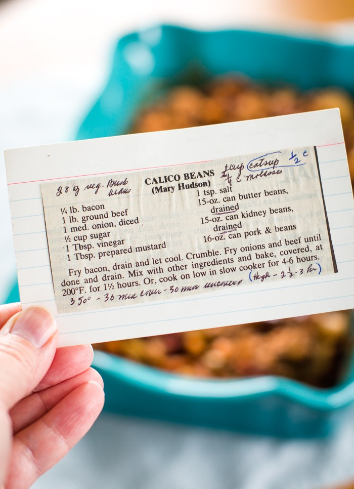 calico baked beans recipe card old fashioned