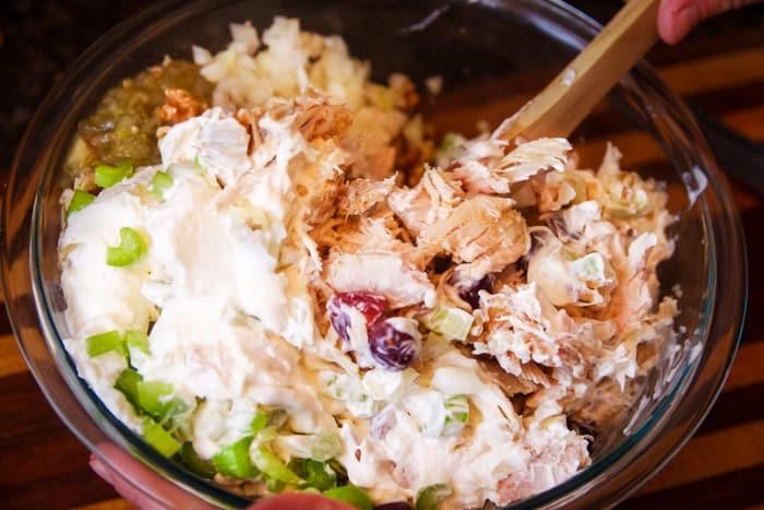 rotisserie chicken salad in bowl
