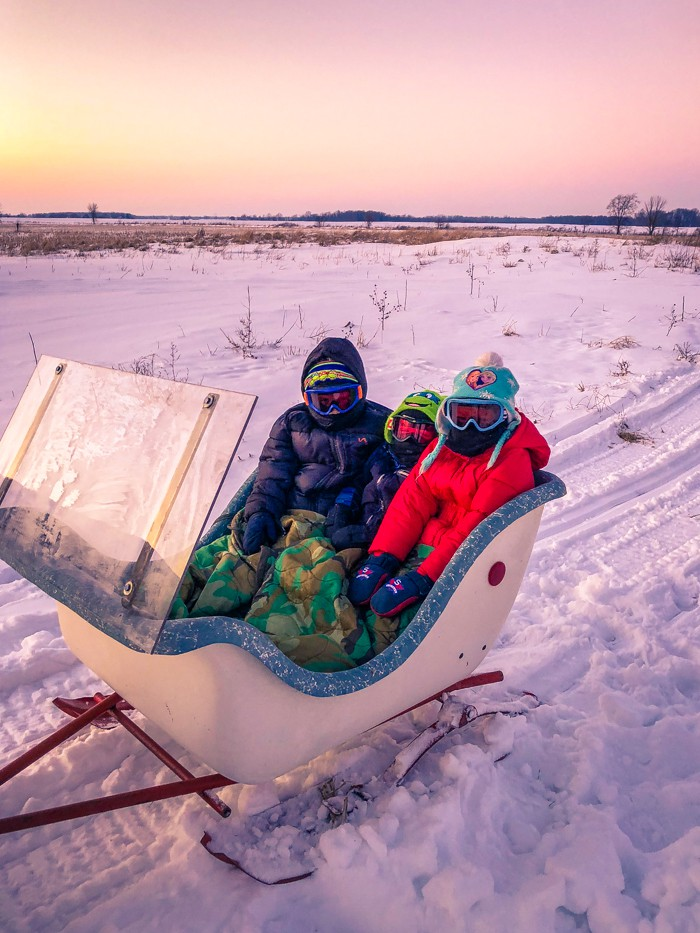 snowmobiling with kids