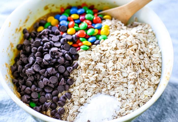 cookie bars ingredients in bowl