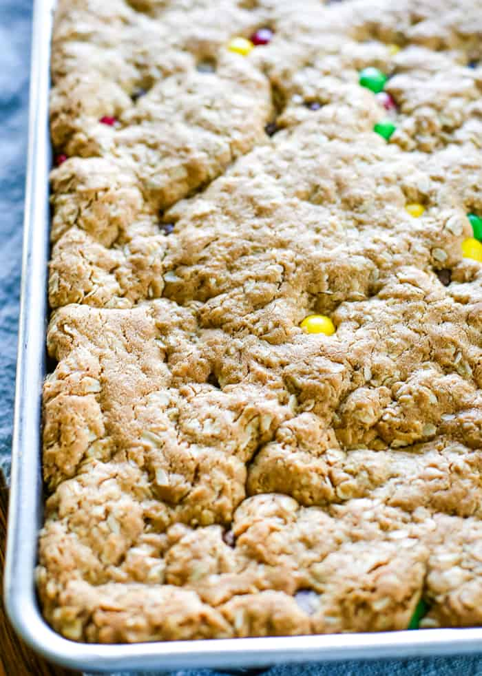 baked no flour monster cookie bars
