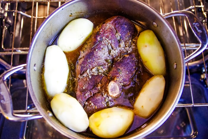 add potatoes to stock pot