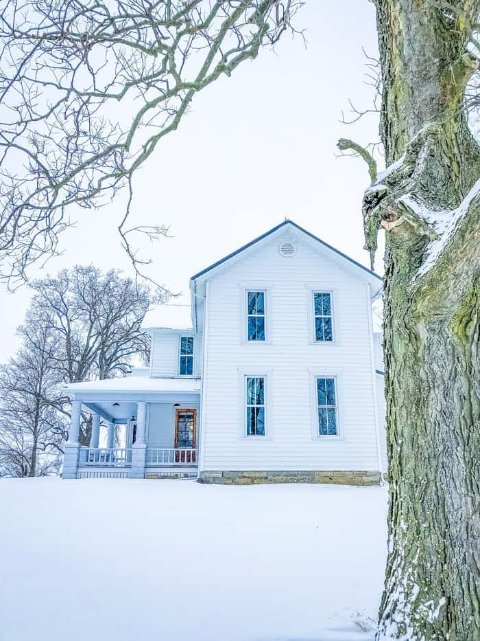 ohio farmhouse in snow
