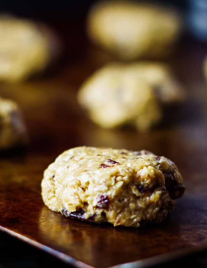 oatmeal cookie dough ball on baking sheet