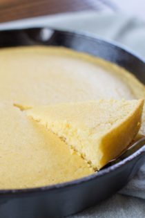 homemade cornbread in a cast iron skillet