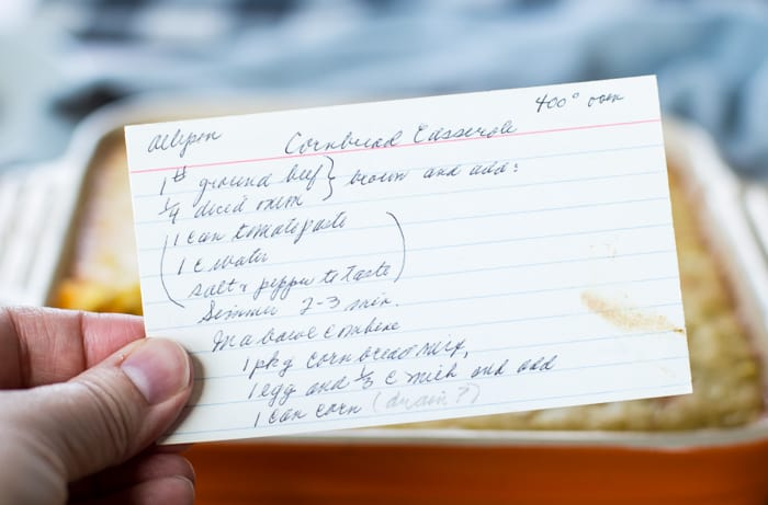 handwritten jiffy cornbread casserole recipe card