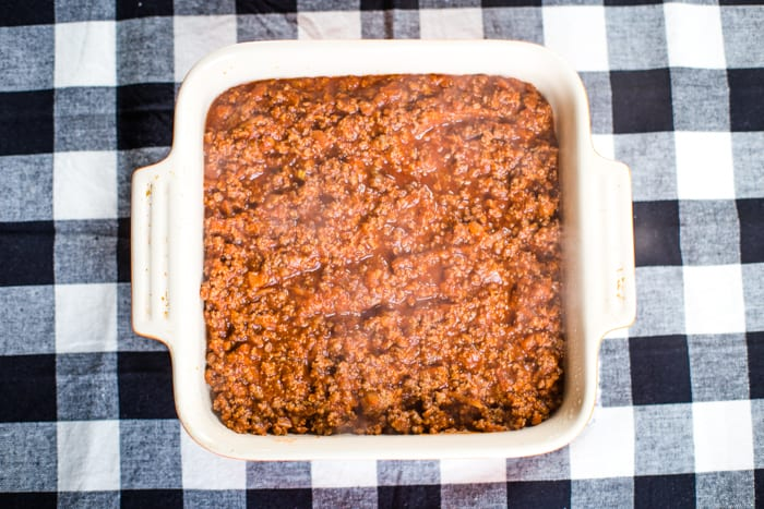 ground beef layer of cornbread casserole