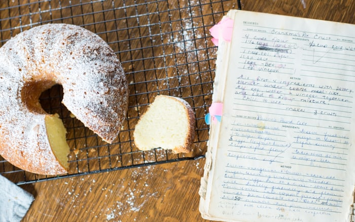 traditional pound cake recipe handwritten