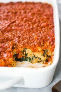 ravioli casserole in baking dish