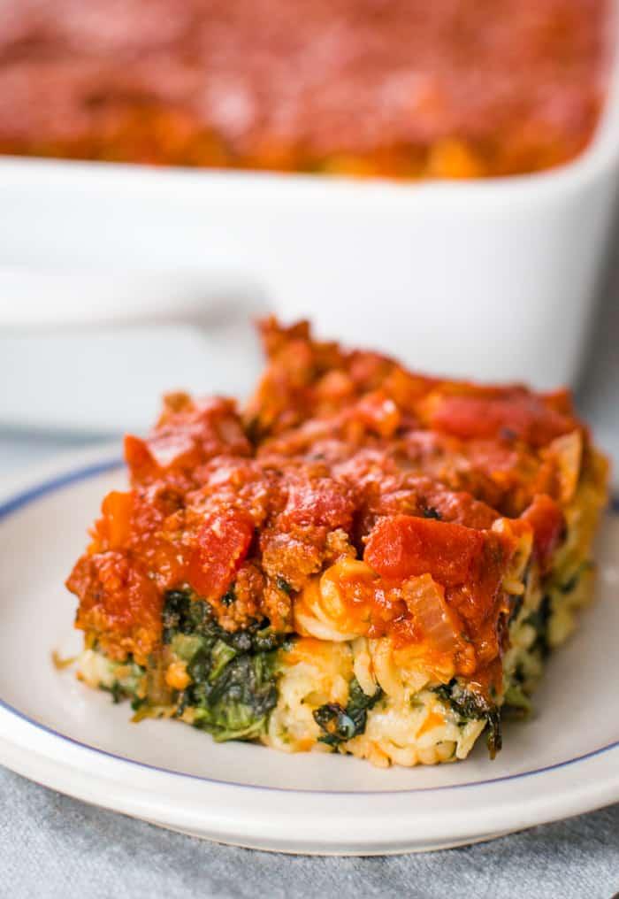 slice of ravioli casserole on plate