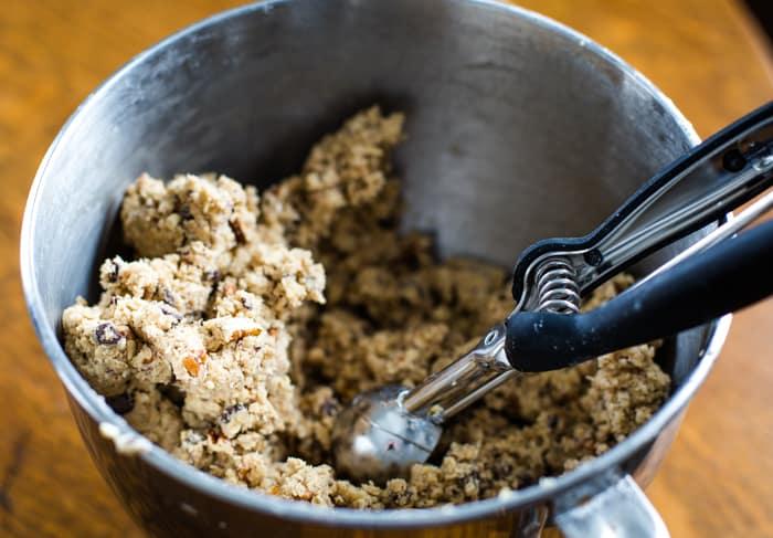 cookie scoop in cowboy cookies batter
