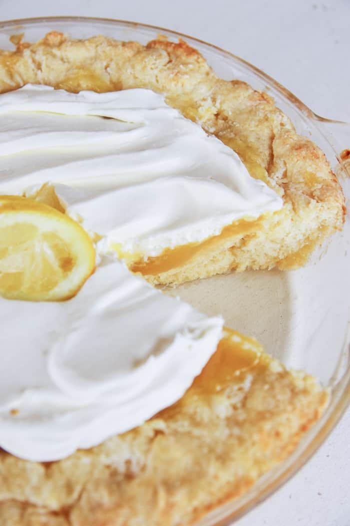 lemon curd pie in pie dish