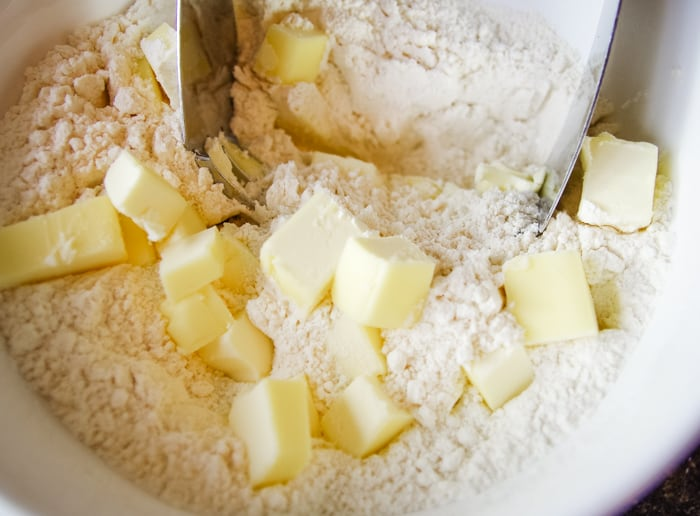 cut in butter into flour
