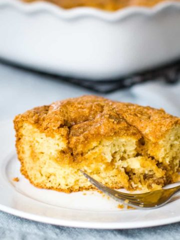 sour cream coffee cake on plate with fork
