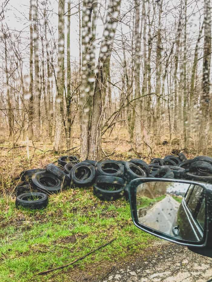 tires in ditch