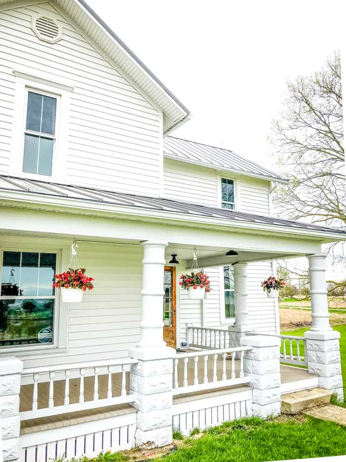 ohio farmhouse porch with flowers