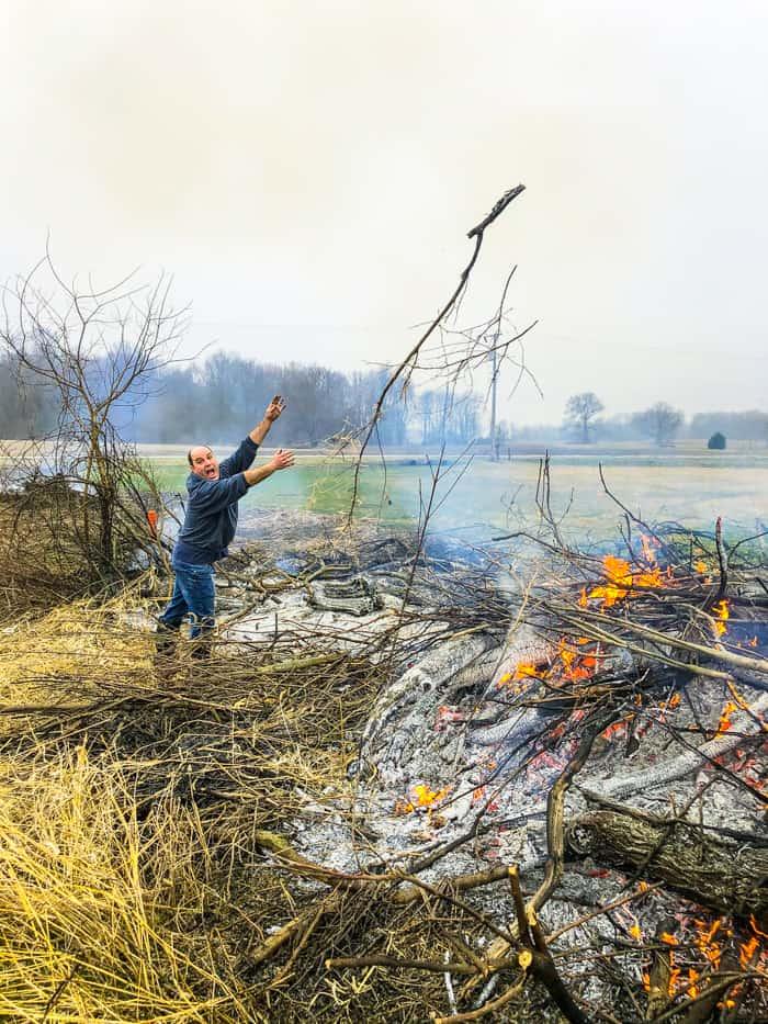 burning fence line