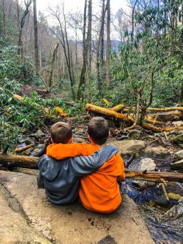 boys at Laurel Falls