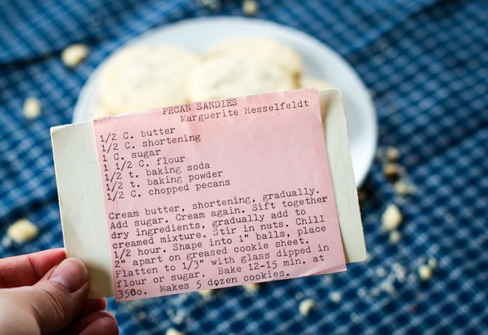old fashioned pecan sandies recipe card with instructions
