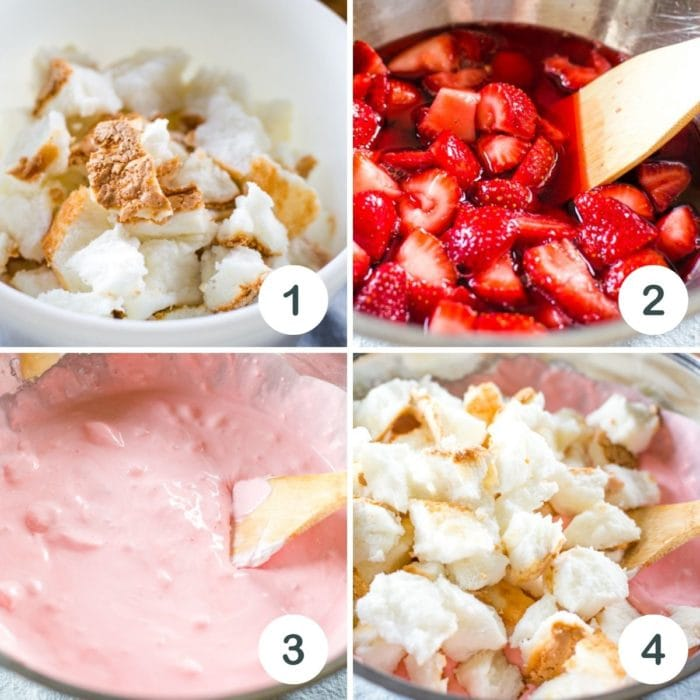 step by step photos on how to make strawberry angel food cake