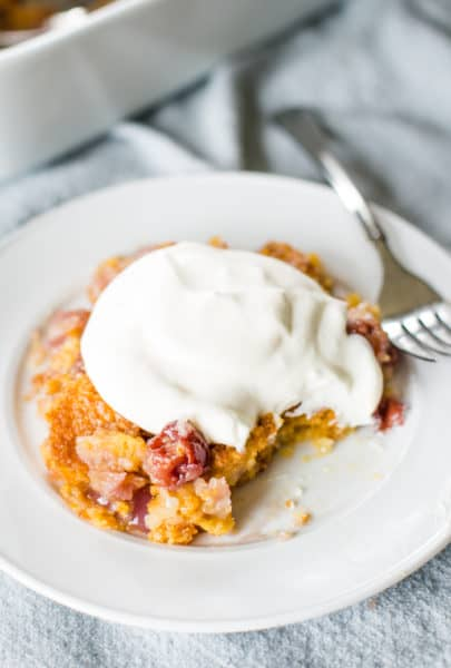 cherry dump cake recipe with bite out of it