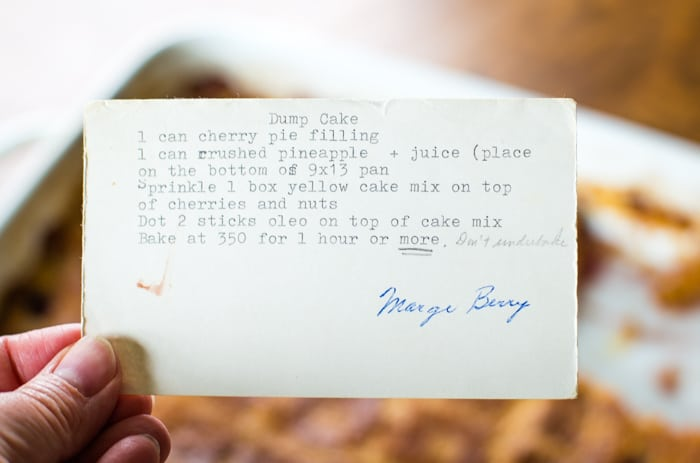 traditional cherry pineapple dump cake recipe card