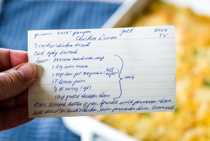 vintage classic recipe card for chicken divan