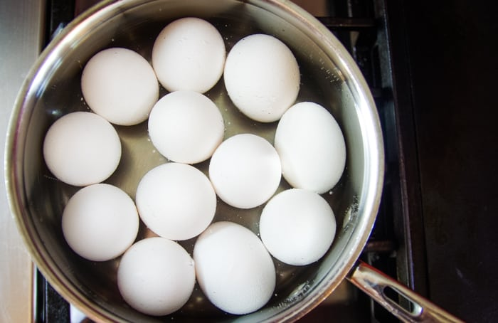 hard boiled eggs in pan