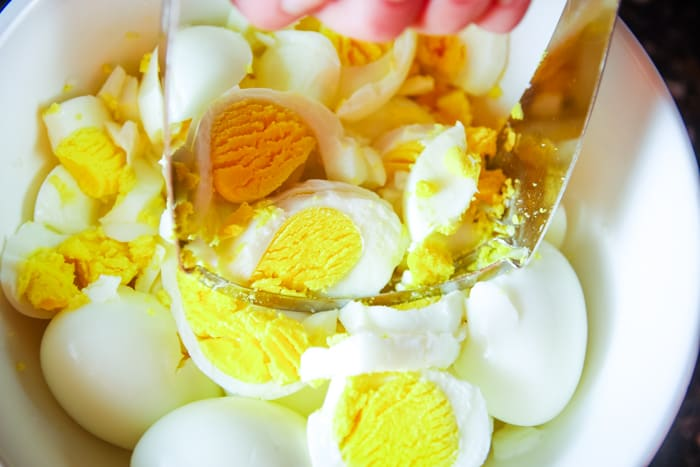 chopped egg for egg salad sandwich
