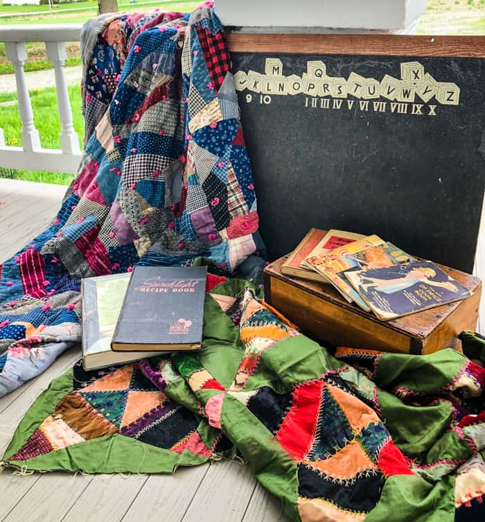 auction finds on porch