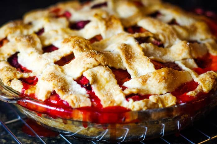 strawberry rhubarb pie baked in oven