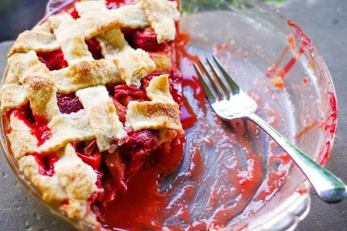 half eaten strawberry rhubarb pie