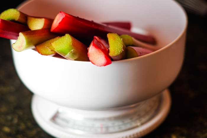 rhubarb in bowl