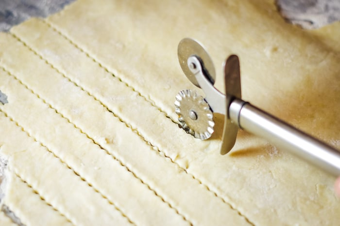 lattice strips of pie dough