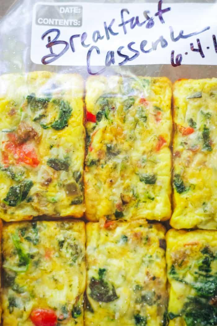 egg casserole in freezer bag