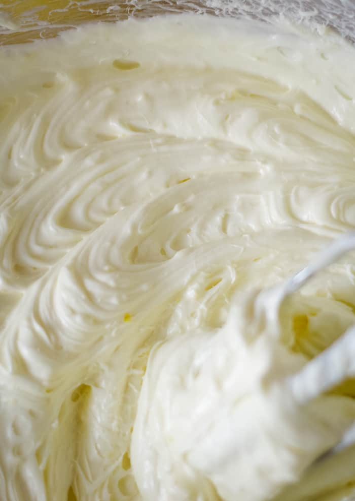 lemon cream cheese frosting in bowl