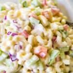 simple macaroni salad in bowl