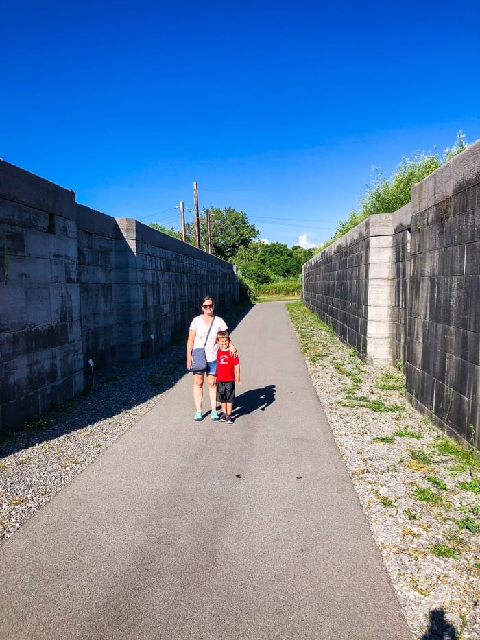 mom and son at Erie canal