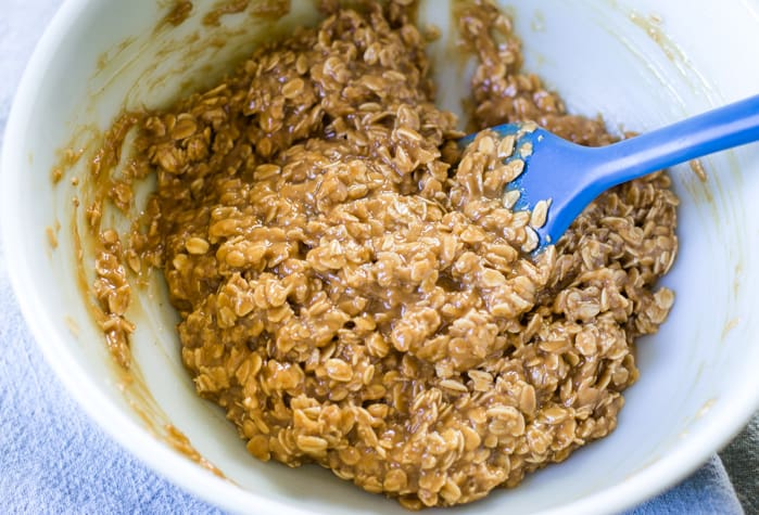 peanut butter no bake oatmeal cookies in bowl